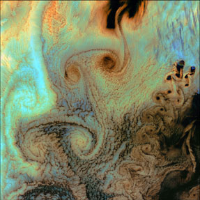 Von Karman vortices - what happens when air currents go over an obstacle such as an island