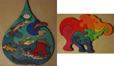 Fish and elephant three dimensional wooden puzzles