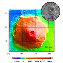 Topography map of Olympus Mons on Mars