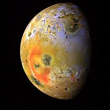 Volcanoes visible on Io