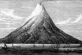 Krakatoa before the eruption, which destroyed most of the island