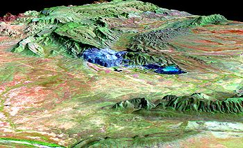 False colour image - the mine is in blue.