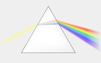 Diffraction of light through a prism to form a rainbow.