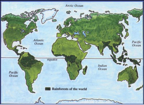 World Tropical Rainforest Map